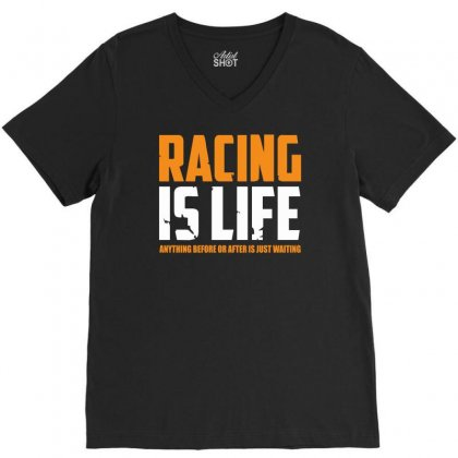 Racing Is Life Steve Mcqueen V-neck Tee Designed By Fanshirt
