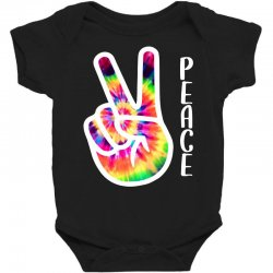 peace sign hand for dark Baby Bodysuit | Artistshot
