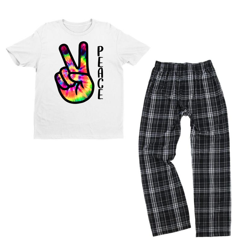 Peace Sign Hand For Light Youth T-shirt Pajama Set | Artistshot