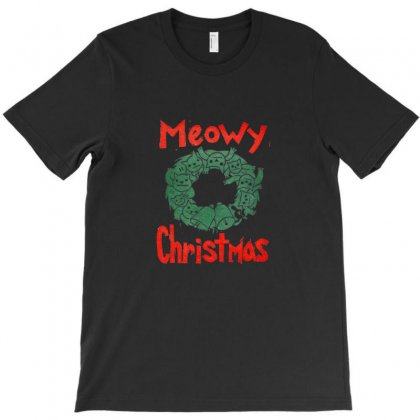 Meowy Christmas T-shirt Designed By Doniemichael