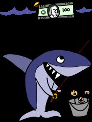 funny shark fishing for humans | Artistshot