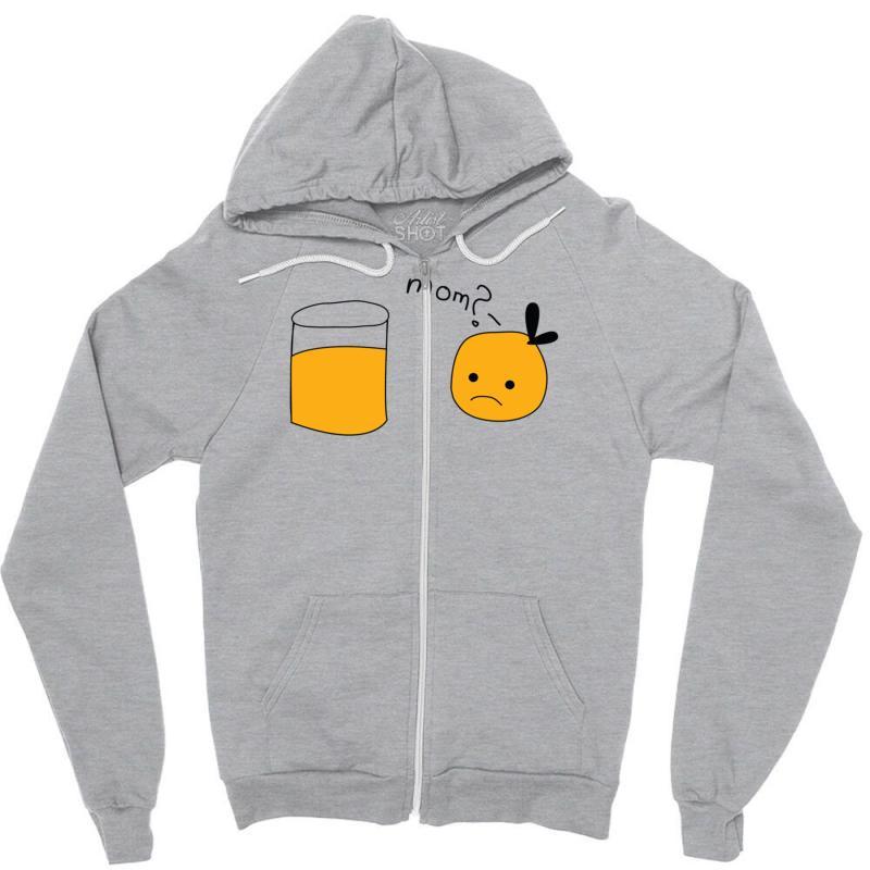 bdc907420 Custom Mom Orange Juice Zipper Hoodie By Secreet - Artistshot