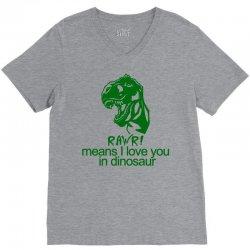 rawr means i love you in dinosaur V-Neck Tee | Artistshot
