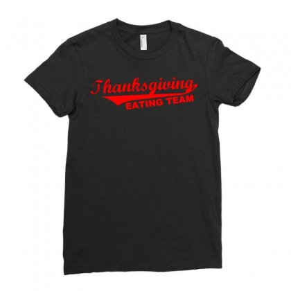 Thanksgiving Eating Team Ladies Fitted T-shirt Designed By Meid4_art