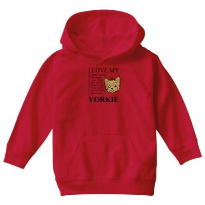 I Love My Yorkie Youth Hoodie Designed By Gematees