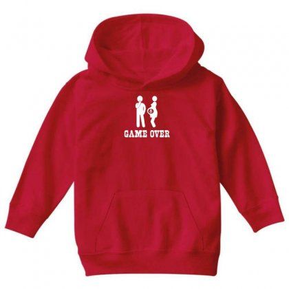 Game Over   Funny Pregnancy Youth Hoodie Designed By Gematees