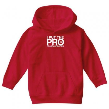I Put The Pro In Procrastination Youth Hoodie Designed By Gematees