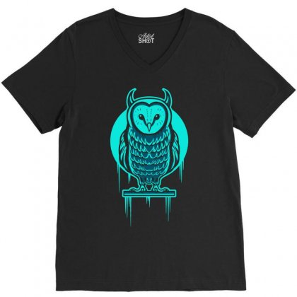 Evil Barn Owl V-neck Tee Designed By Mdk Art