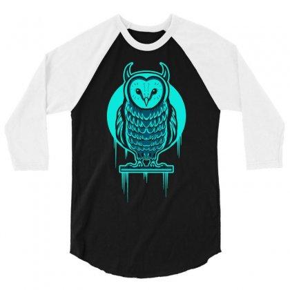 Evil Barn Owl 3/4 Sleeve Shirt Designed By Mdk Art