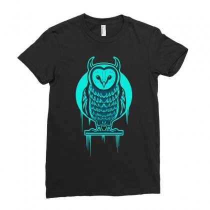 Evil Barn Owl Ladies Fitted T-shirt Designed By Mdk Art