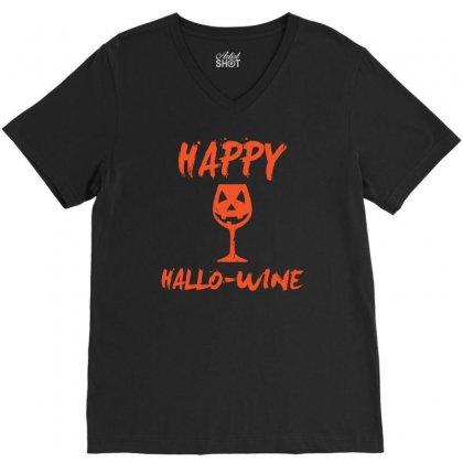 Halloween Happy Hallowine Funny V-neck Tee Designed By Mdk Art