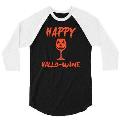Halloween Happy Hallowine Funny 3/4 Sleeve Shirt Designed By Mdk Art