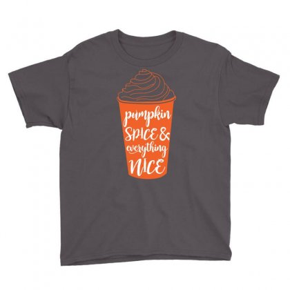 Halloween Pumpkin Spice And Everything Nice Funny Youth Tee Designed By Mdk Art