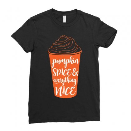 Halloween Pumpkin Spice And Everything Nice Funny Ladies Fitted T-shirt Designed By Mdk Art