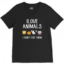 i love animals i dont eat them funny V-Neck Tee | Artistshot