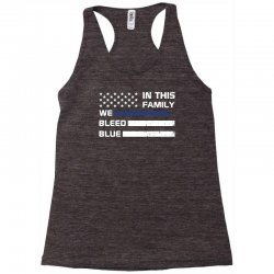 in this family we bleed blue funny Racerback Tank | Artistshot