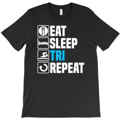Eat Sleep Tri T-shirt Designed By Enjang