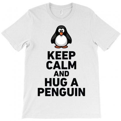 Keep Calm And Hug A Penguin Funny T-shirt Designed By Enjang