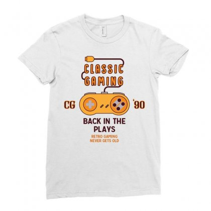 Classic Gaming - Back In The Plays Ladies Fitted T-shirt Designed By Tshiart