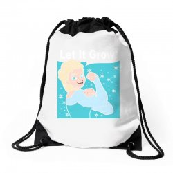 funny gym elsa let it grow frozen fitness Drawstring Bags | Artistshot