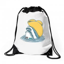 funny hat shark Drawstring Bags | Artistshot