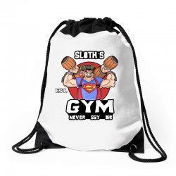 funny gym sloth the goonies fitness t shirt vectorized Drawstring Bags | Artistshot