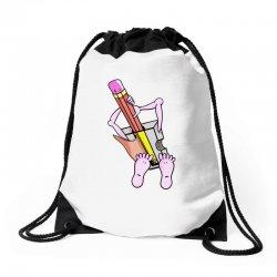 Funny cartoon pencil sharpener Drawstring Bags   Artistshot