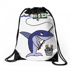 funny shark fishing for humans Drawstring Bags | Artistshot