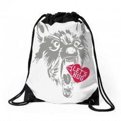 screaming wolf love you Drawstring Bags | Artistshot