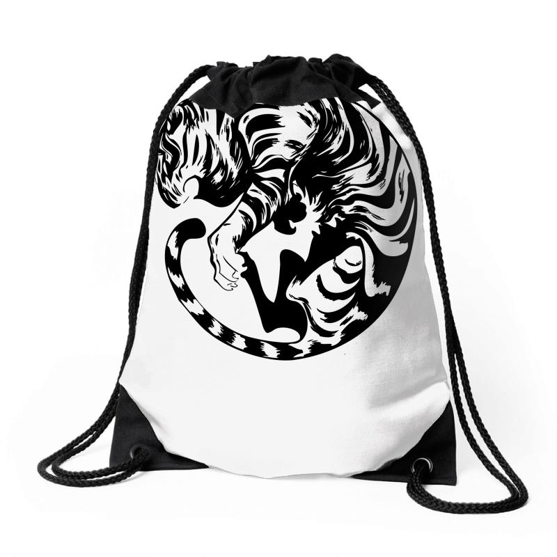 Custom Rolling Tiger Drawstring Bags By Mdk Art