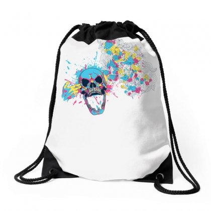 Cmyk Bang Skull Drawstring Bags Designed By Specstore