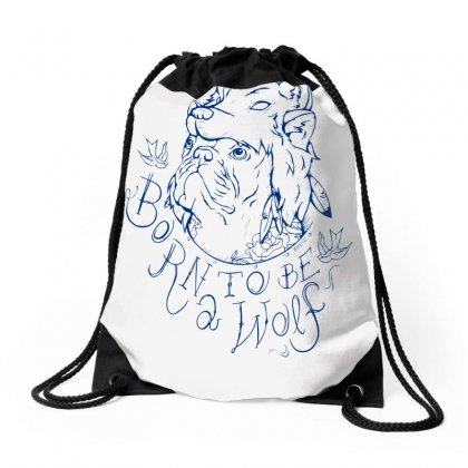 Born To Be A Wolf Drawstring Bags Designed By Specstore