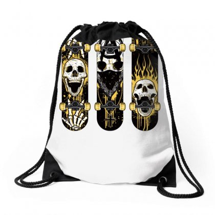 Burned Skate Skull Drawstring Bags Designed By Specstore