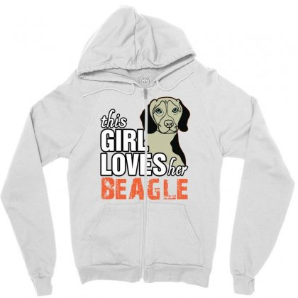 This Girl Loves Her Beagle Zipper Hoodie Designed By Killakam