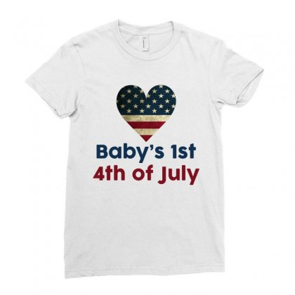 Baby's 1st 4th Of July Ladies Fitted T-shirt Designed By Tshiart