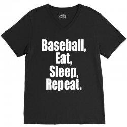 Eat Sleep Baseball Repeat Funny V-Neck Tee | Artistshot