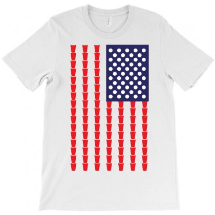 Beer Pong American Flag T-shirt Designed By Tshiart
