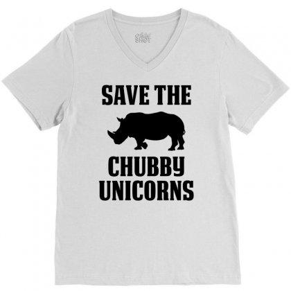 Save The Chubby Unicorns V-neck Tee Designed By Tshiart