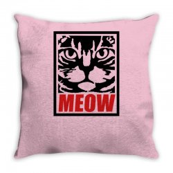 funny cat meow Throw Pillow   Artistshot