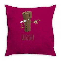 funny morning wood Throw Pillow | Artistshot