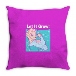 funny gym elsa let it grow frozen fitness Throw Pillow | Artistshot