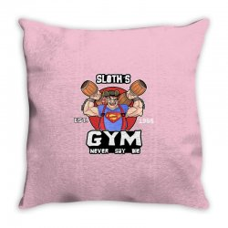 funny gym sloth the goonies fitness t shirt vectorized Throw Pillow | Artistshot