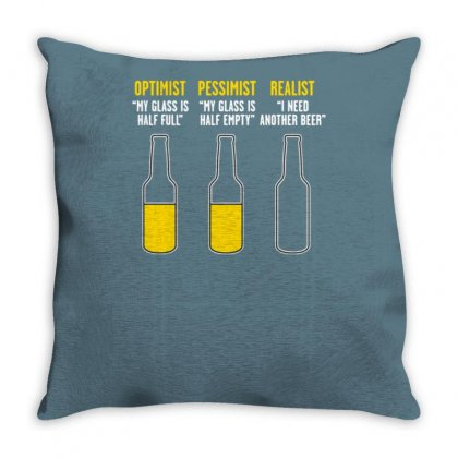 Optimist, Pessimist, Realist Throw Pillow Designed By Tonyhaddearts