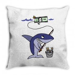 funny shark fishing for humans Throw Pillow | Artistshot