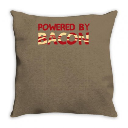 Powered By Bacon Throw Pillow Designed By Tonyhaddearts