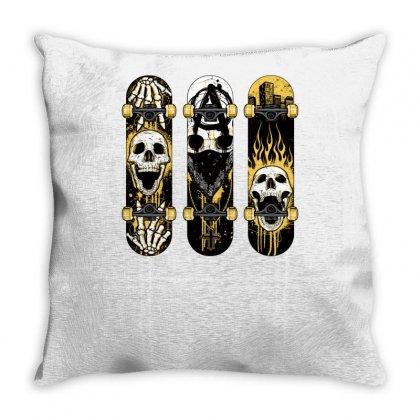 Burned Skate Skull Throw Pillow Designed By Specstore