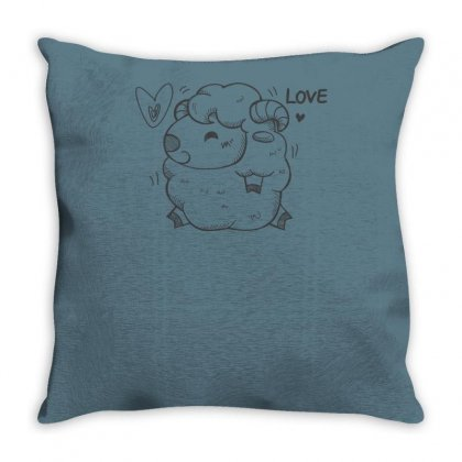 Happy Love And Life Sheep Throw Pillow Designed By Specstore