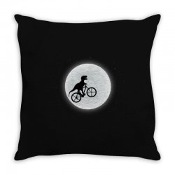 Dinosaur Riding A Bike To The Moon Throw Pillow | Artistshot