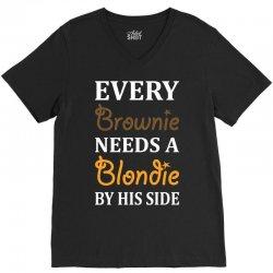 Every Brownie Needs A Blondie By His Side V-Neck Tee   Artistshot
