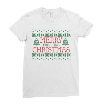 Merry Freaking Christmas Ladies Fitted T-shirt Designed By Tshiart